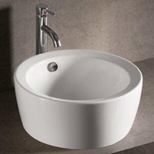 Best Isabella Ceramic Circular Vessel Bathroom Sink with Overflow ByWhitehaus Collection