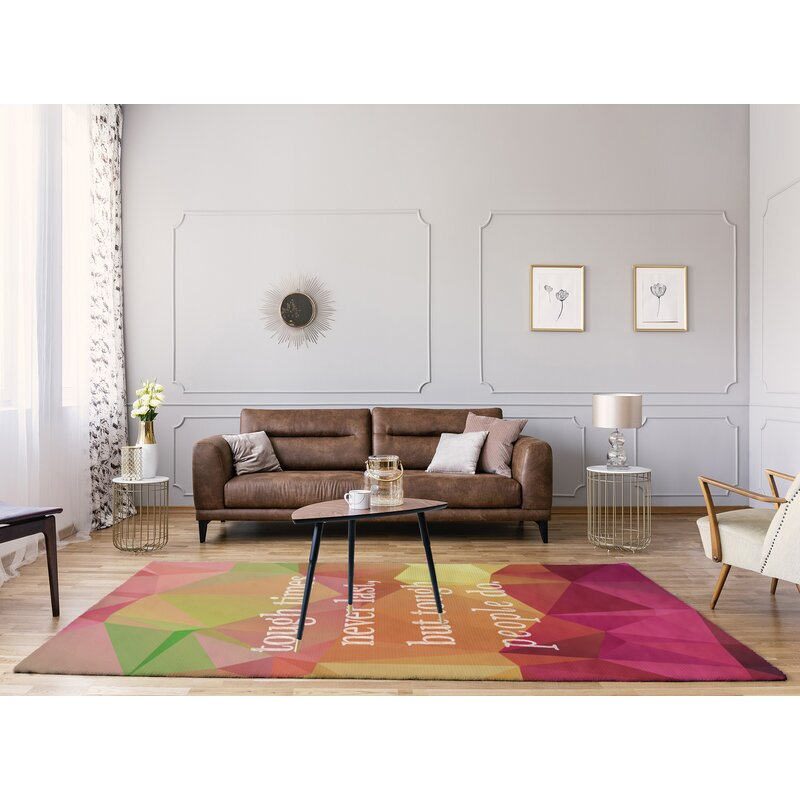 East Urban Home Faux Gemstone Tough Times Quote Poly Chenille Rug Wayfair