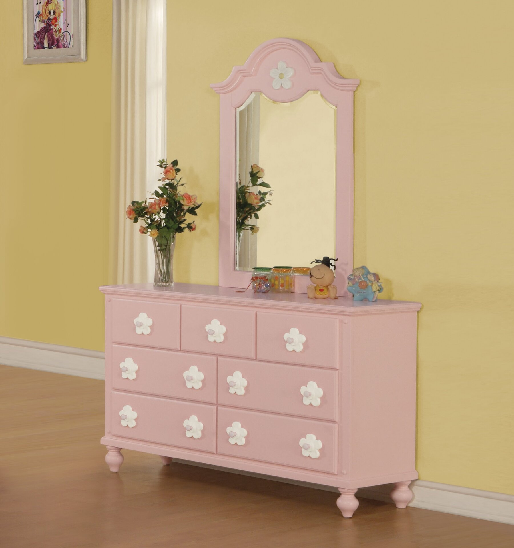 Harriet Bee Eslick 7 Drawer Dresser With Mirror Wayfair