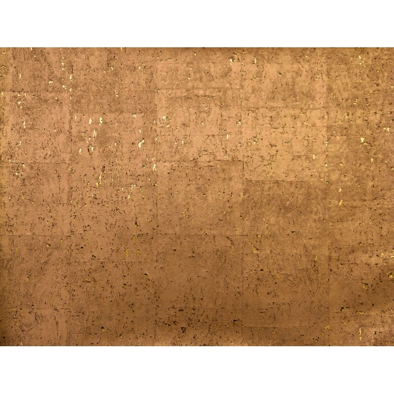 "17 Stories Kenzo 24 L x 36"" W Cork Wallpaper Roll  Color: Copper"