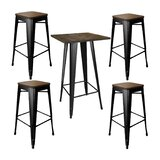 Addilyn Kitchen Decorative Loft Glossy 5 Piece Bar Height Dining Set by Williston Forge