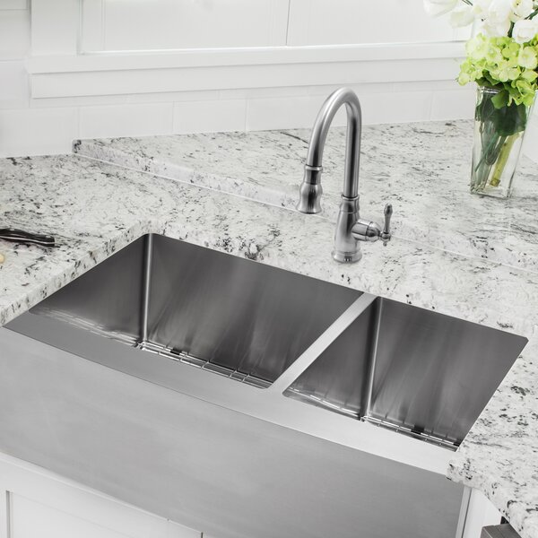 Soleil 36 L X 20 75 W A Front 60 40 Double Bowl Stainless Steel Kitchen Sink With Faucet Wayfair