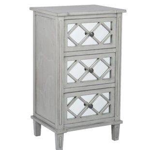 Lawler Mirrored Pinewood 3 Drawer Bedside Table