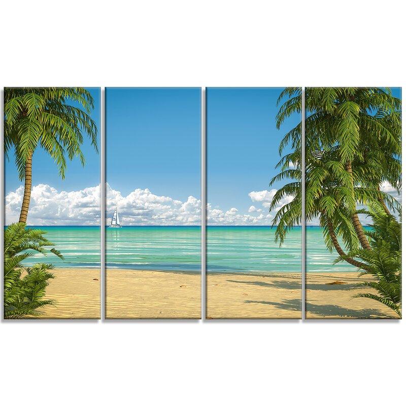 Designart Palms At Caribbean Beach 4 Piece Photographic Print On Wrapped Canvas Set Wayfair