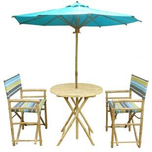 Highland Dunes Denning Bamboo 3 Piece Bistro Set with Umbrella