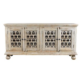 Pomona Mango Wood Aged 4 Door Carved Sideboard