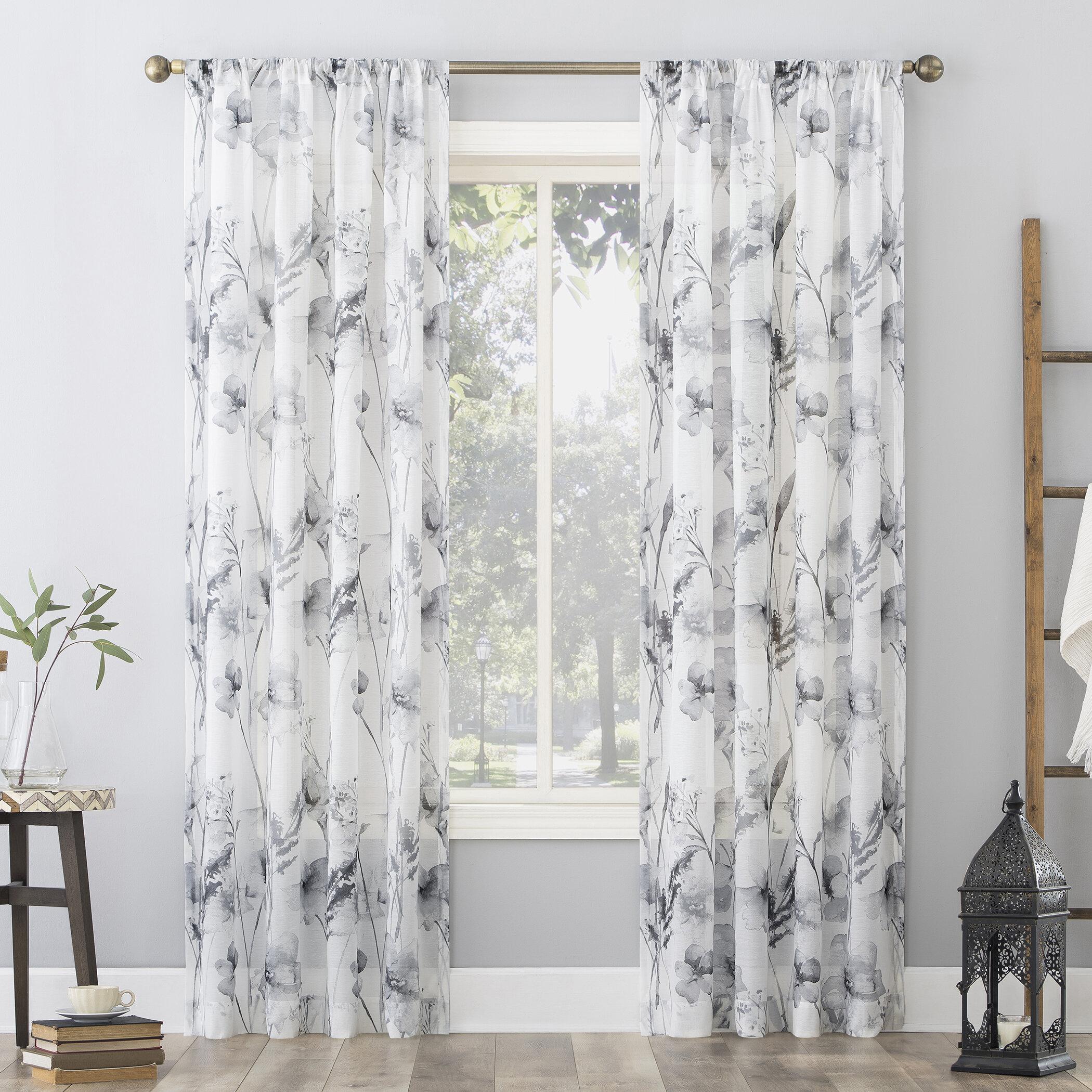 Red Barrel Studio Eryne Floral Sheer Rod Pocket Single Curtain Panel Reviews Wayfair