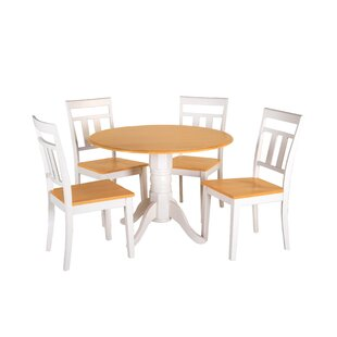 Adira 5 Piece Drop Leaf Solid Wood Dining Set