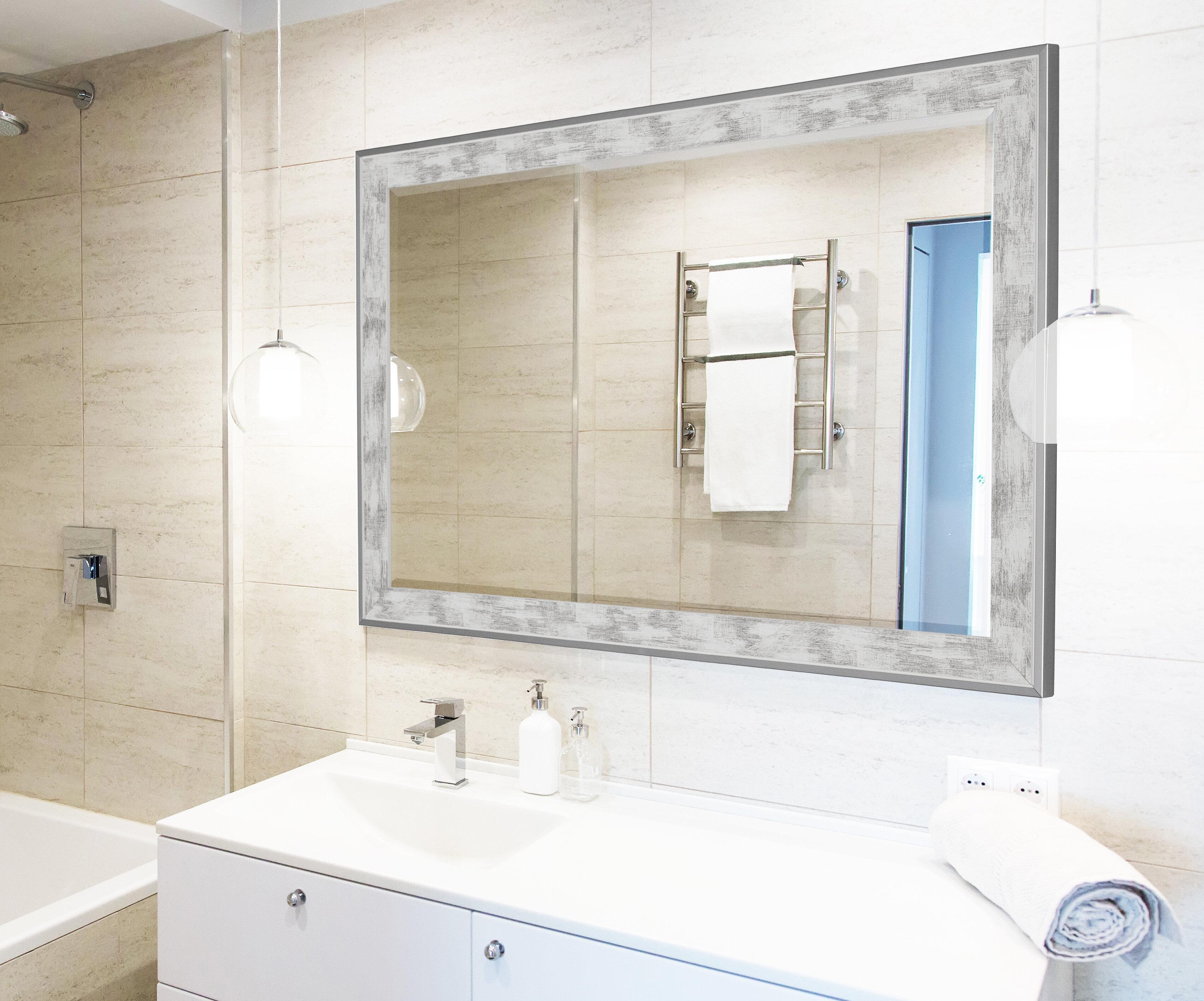Wade Logan Scratched Wash White Trim Full Length Mirror | Wayfair