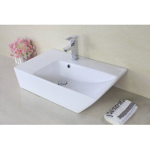 Online Reviews Ceramic Rectangular Vessel Bathroom Sink with Overflow By American Imaginations