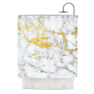 Great Price 'Gold Flake' Marble Metal Shower Curtain By East Urban Home