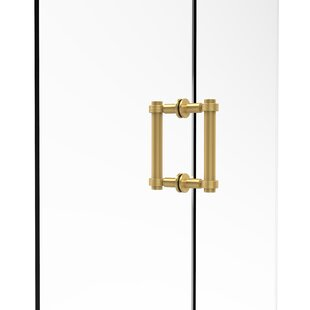 Contemporary 6 Back to Back Shower Door Pull with Grooved Accent by Allied Brass