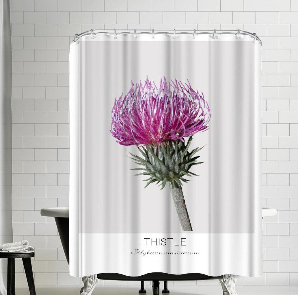 East Urban Home Nauda Thistle Shower Curtain Wayfair