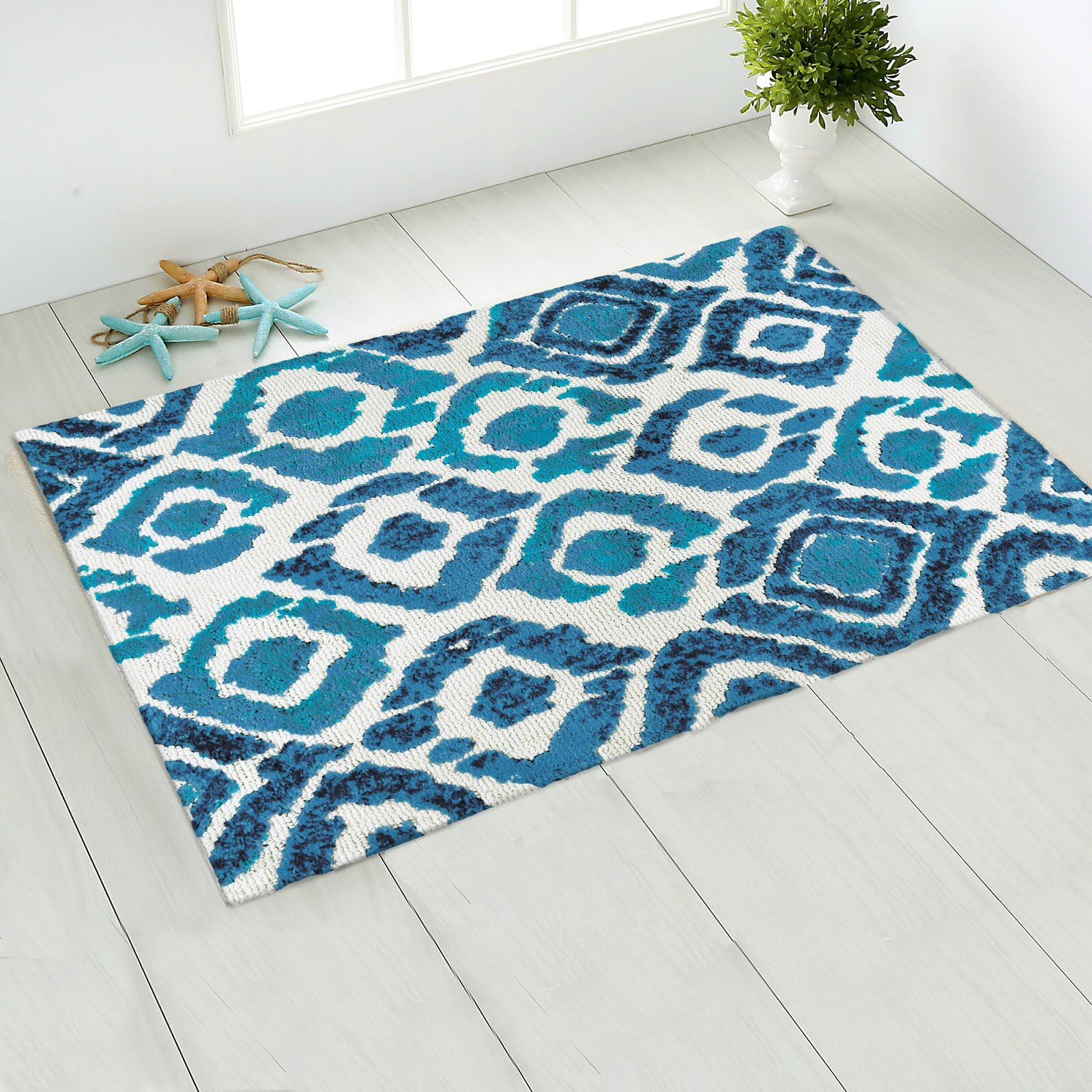 Wrought Studio Lennie Ikat Blue Area Rug Wayfair