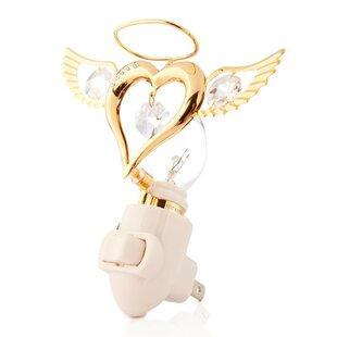 Matashi Crystal Valentine Gift 24K Gold Plated Angel Heart Night Light