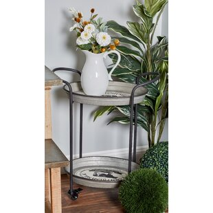 Englewood 2-Tier Round Bar Cart with Wheels by August Grove