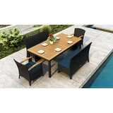 Aisha 5 Piece Teak Sunbrella Dining Set with Cushions