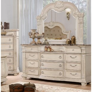 Makaila 11 Drawer Double Dresser with Mirror