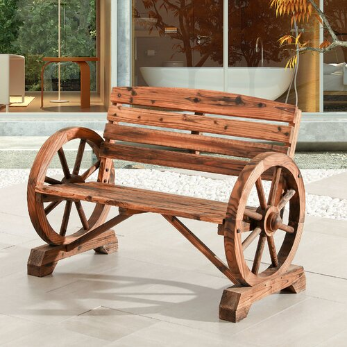 The Knick Knack Shelf Wagon Wheel Bench