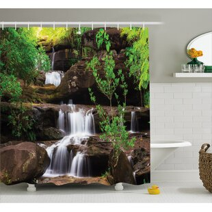 Nature Rock Stair in Waterfall Shower Curtain ByEast Urban Home