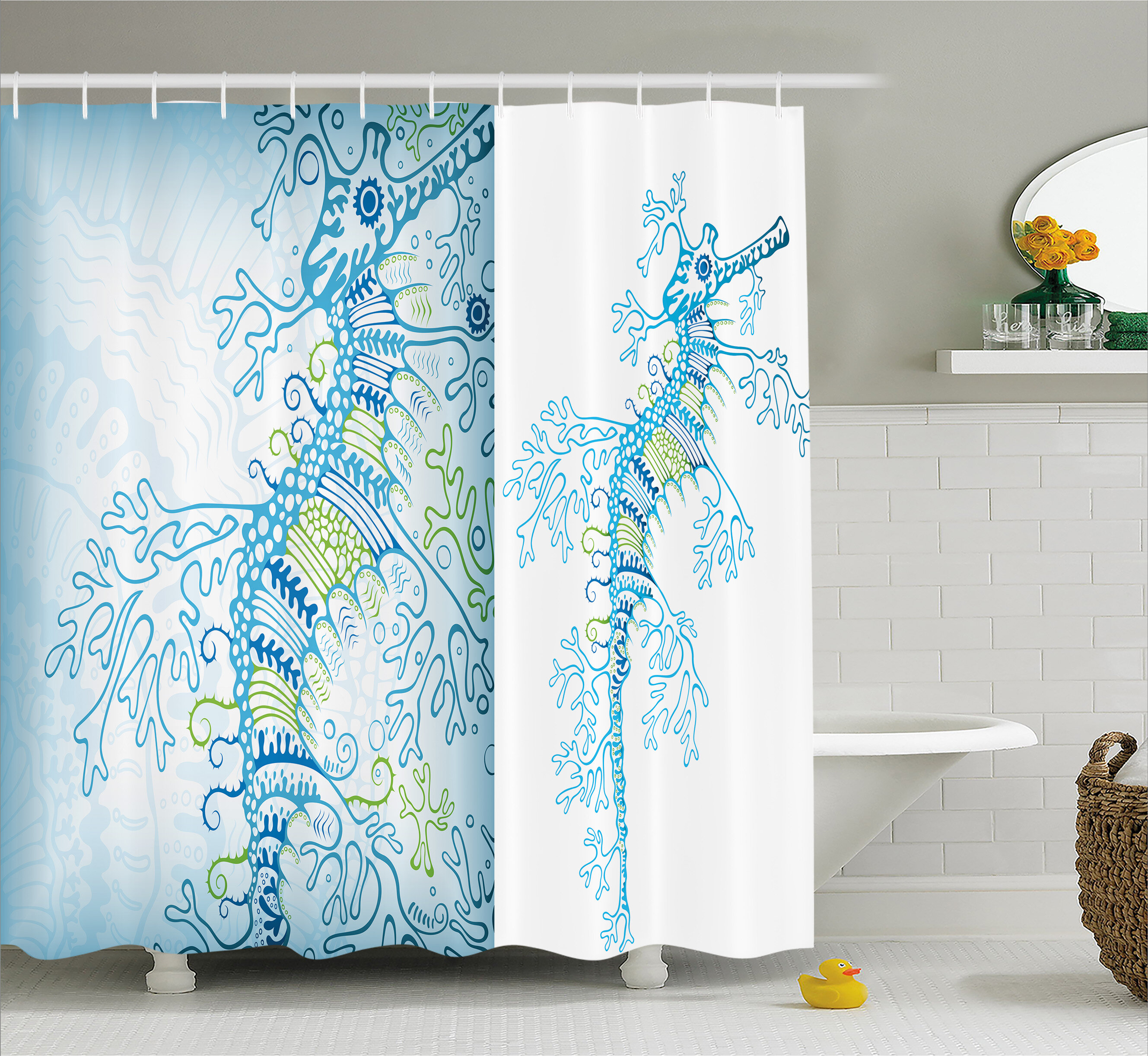 Bayou Breeze Arabella Ocean Animals Seahorse Shower Curtain