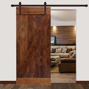 Bent Strap Sliding Track Hardware 1 Panel Wood Slab Interior Barn Door