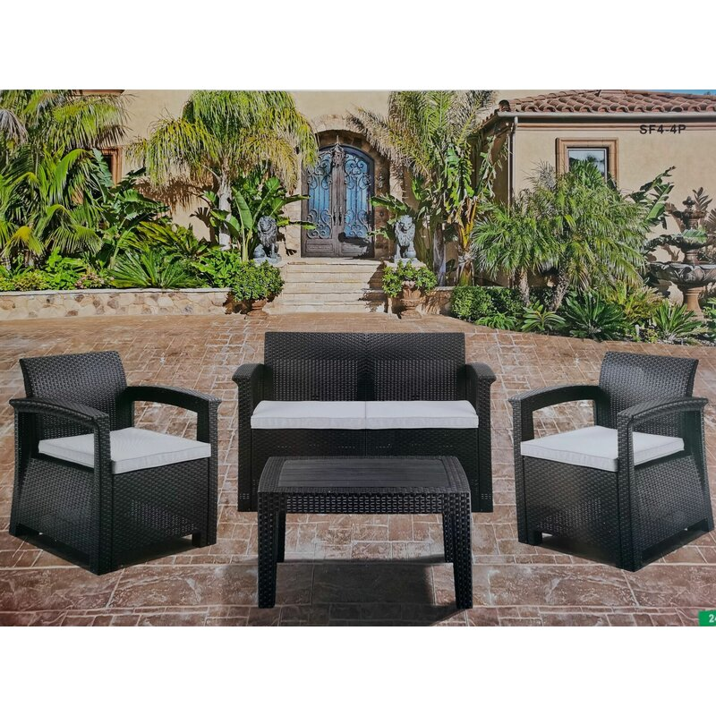 Latitude Run 5 Piece Rattan Sofa Seating Group With Cushions Wayfair