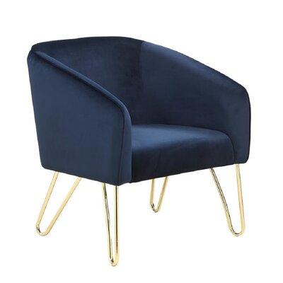 Modern Blue And Brass Accent Chair Decor+