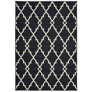 Salerno Lattice Black/Ivory Indoor/Outdoor Area Rug