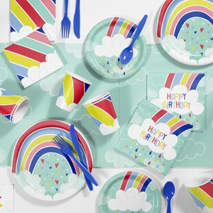 Over the Rainbow Birthday Party Paper/Plastic Disposable Supplies Kit