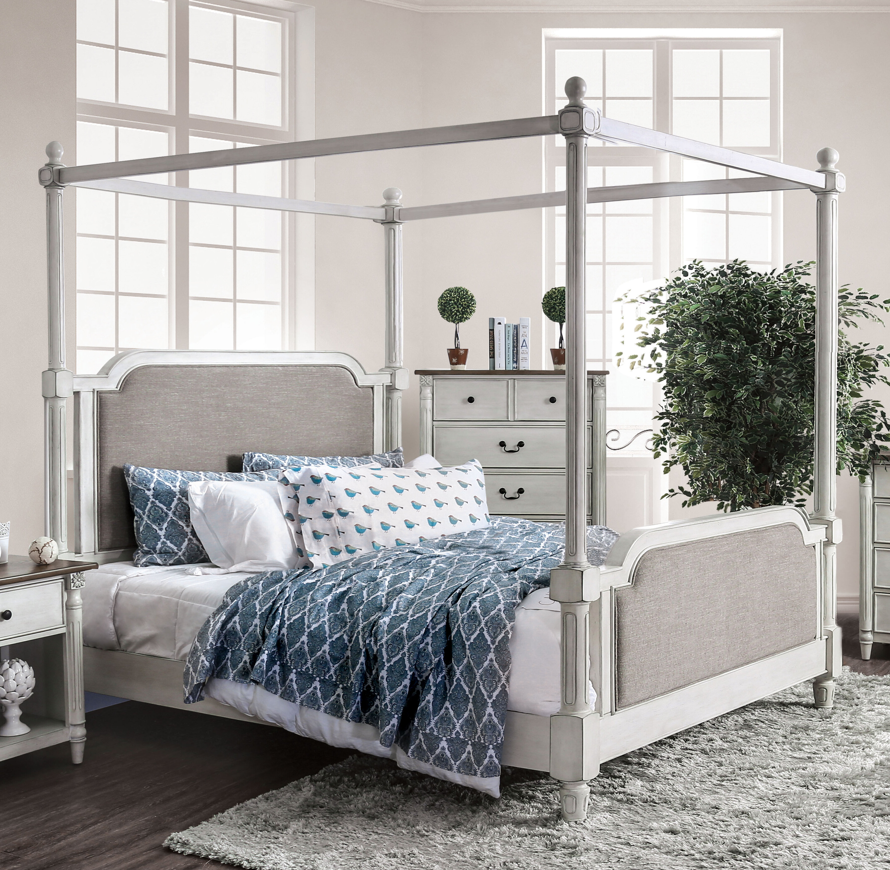 - Canora Grey Vickey Upholstered Canopy Bed Wayfair