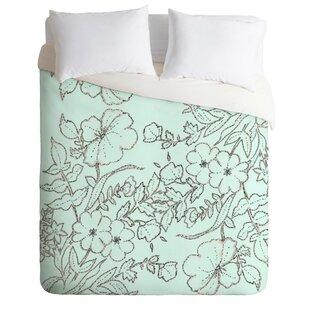 East Urban Home Floral Scroll Mint Duvet Cover Set