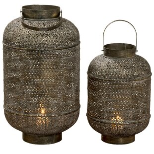 Moroccan Temple 2 Piece Metal Lantern Set By World Menagerie