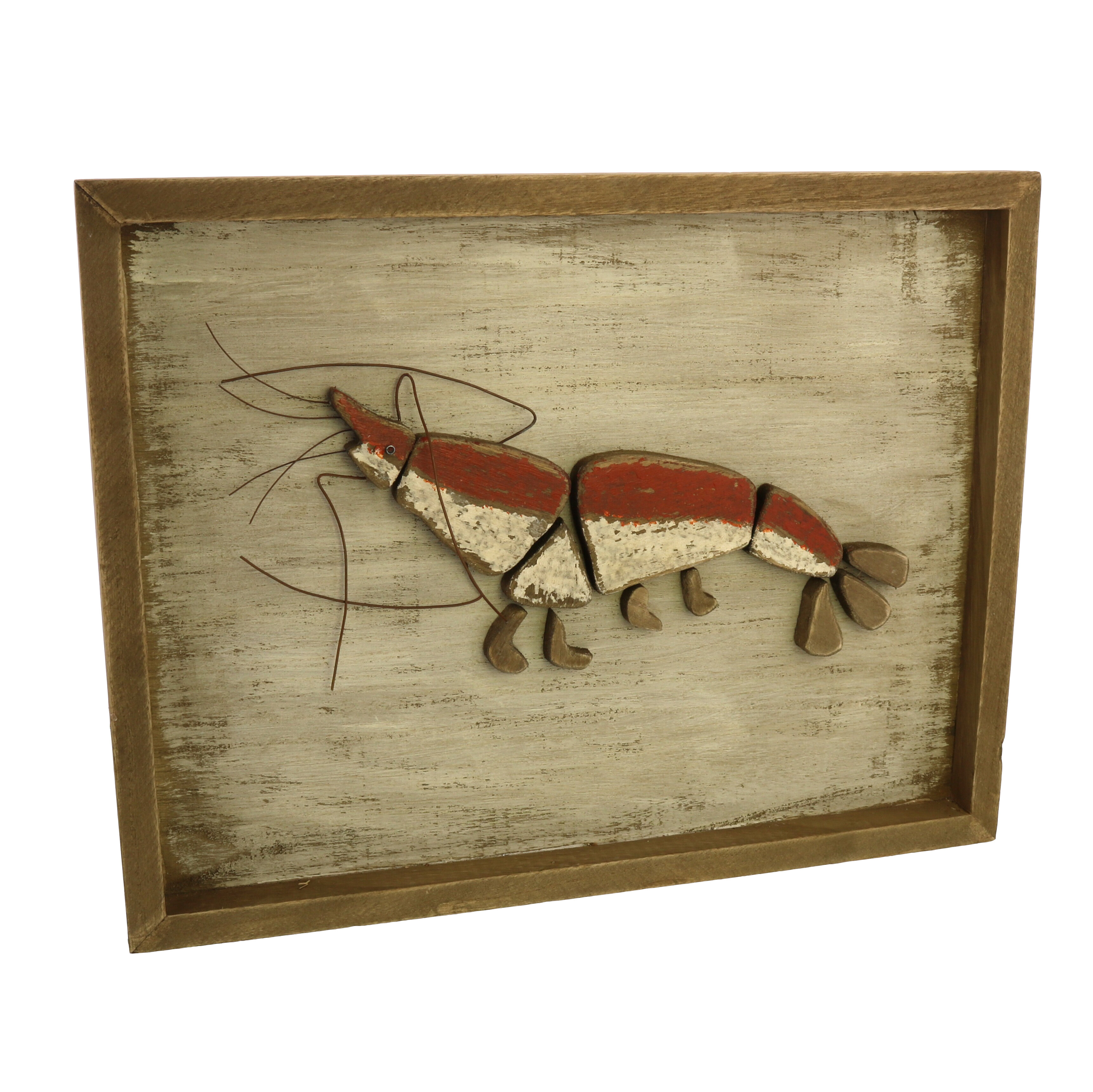 Breakwater Bay Framed Lobster Wood Wall Décor Wayfair