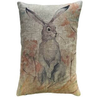 Finkelstein Watercolor Bunny Linen Throw Pillow