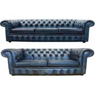 Chet Chesterfield 2 Piece Leather Sofa Set By Williston Forge
