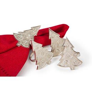 Tannenbaum Christmas Tree Holiday Metal Napkin Ring (Set of 4)
