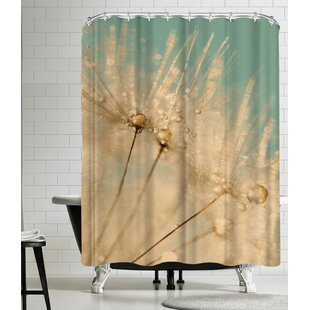 Dandelion Mint Gold Single Shower Curtain