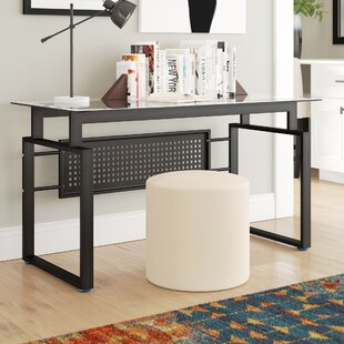 Hattie Black Office Glass Writing Desk