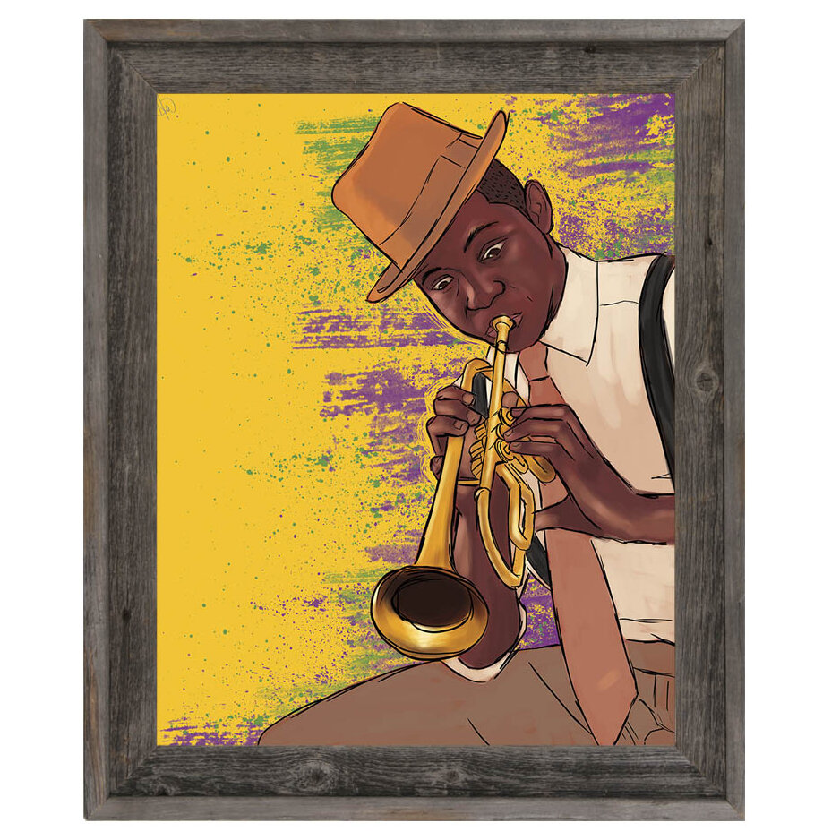 Click Wall Art \'Playing the Trumpet\' Framed Graphic Art | Wayfair