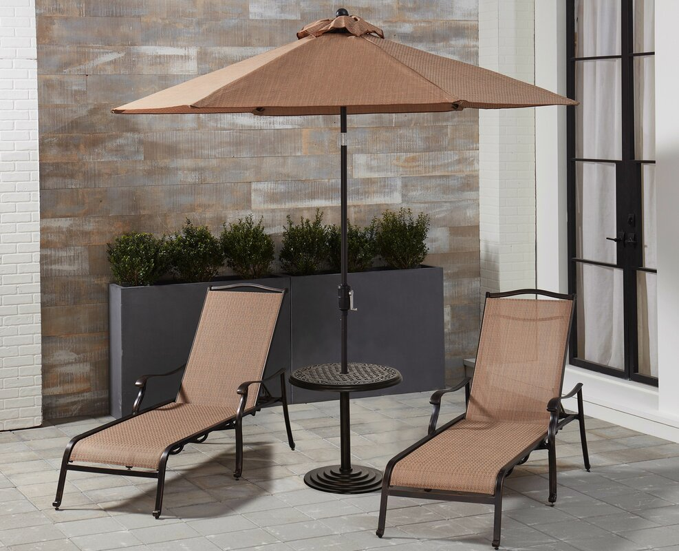 Canora Grey Oakpark Sun Lounger Set with Table and Umbrella