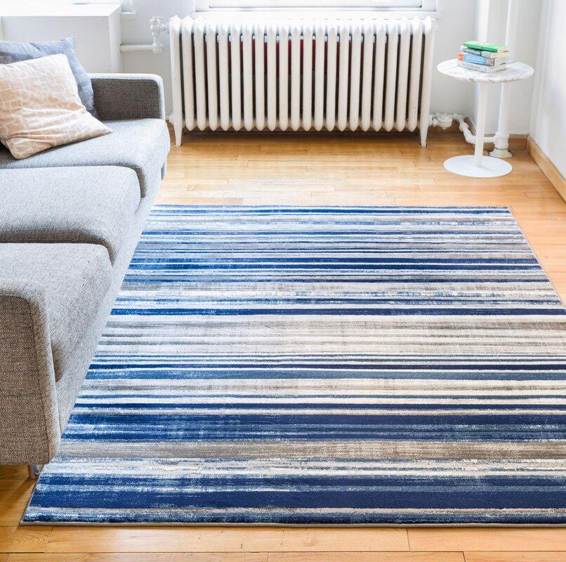 Amba Modern Signature Stripe Blue Grey Area Rug