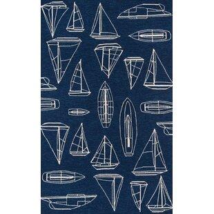 Find the perfect Dreadnought Hand-Hooked Navy Indoor/Outdoor Area Rug By Breakwater Bay
