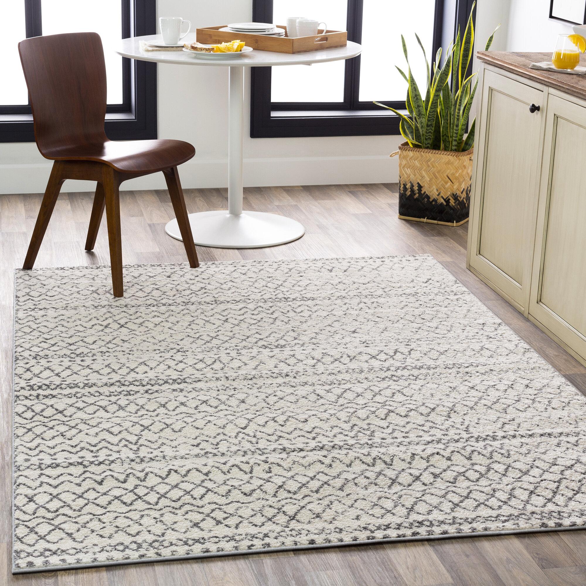 Union Rustic Maid Geometric Gray White Area Rug Reviews Wayfair