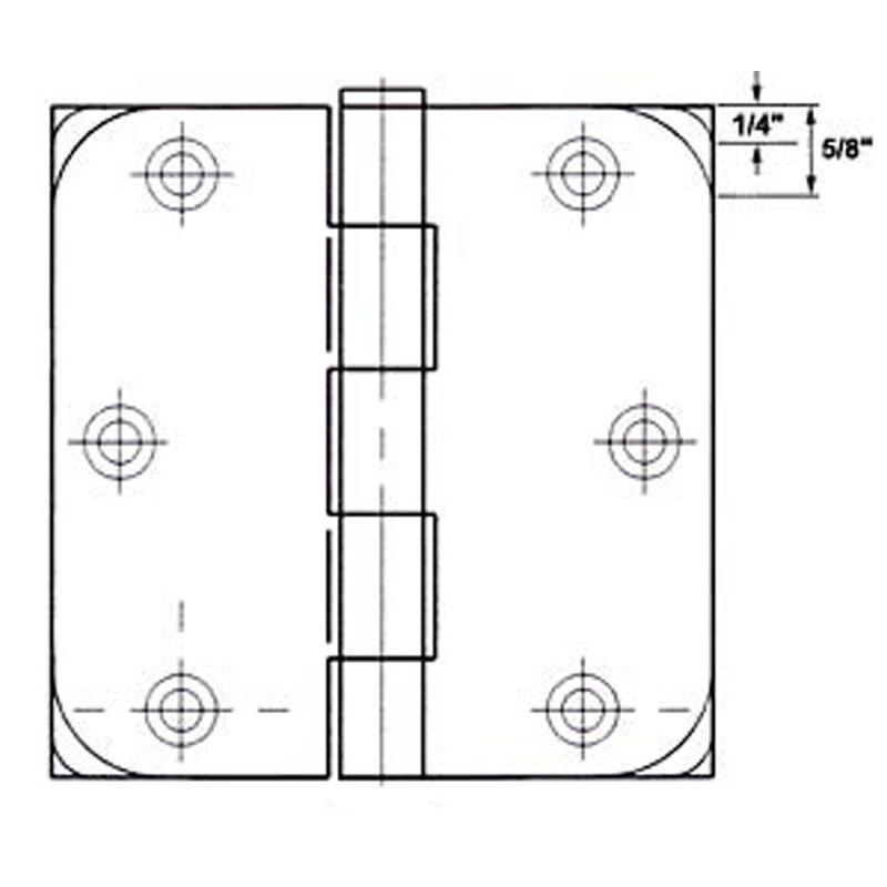 """GlideRite 4/"""" Satin Nickel Door Hinges 5//8/"""" /& Square Radius Hinge 4000-SQ-58-SN-1"""