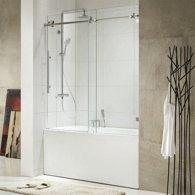 Frameless Sliding Shower Doors Tub wet republic trident 60'' x 62'' single sliding frameless tub door