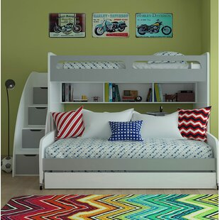 Gautreau Twin Futon Bunk Bed with Table and Trundle By Brayden Studio