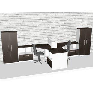TeamCENTERoffice Compact Space Maximum Collaboration 9 Piece L-Shape Desk Office Suite