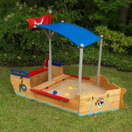 Bootförmiger Sandkasten mit Abdeckplane | Kinderzimmer > Spielzeuge > Sandkästen | Blau/beige/rot | Massivholz | KidKraft