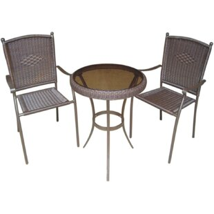 DC America Savannah 3 Piece Wicker Bistro Set